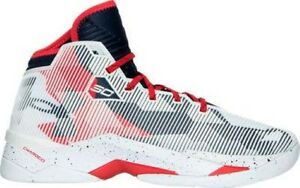Men's Under Armour Curry 2.5 Basketball Shoes WhiteRedNavy 1274425 107