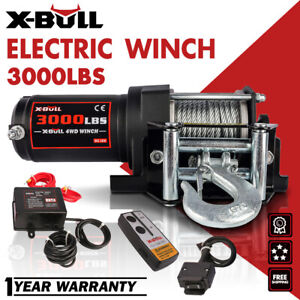 X-BULL 3000LBS Electric Winch 12V Steel Cable ATV UTV Wireless Remote Control