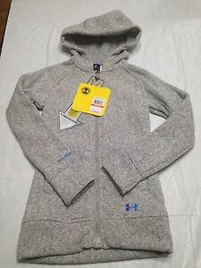 NWT Youth XS Girls Under Armour Storm Gray Wintersweet Full Zip Hoodie RV $80