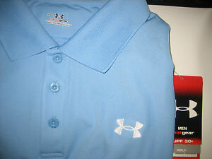 Under Armour XXL Mens Golf Shirt Blue Polo Size 2X Men's 2XL 2XLG Heatgear NEW +