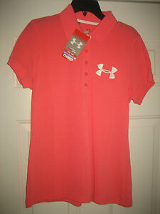 Under Armour Womens Size Large shirt LG Top blouse Polo golf Ladies Pink NEW