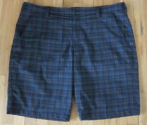 Under Armour Blue Grey Plaid Light Weight Dry Fit Golf Shorts Men's Size 42
