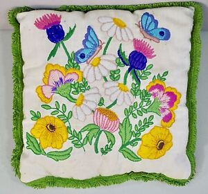 Vintage Embroidered Crewel Handmade Complete Toss Pillow FLOWERS amp; BUTTERFLY