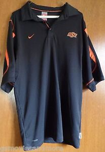 OKLAHOMA STATE COWBOYS Shirt NIKE Authentic LARGE Fit Dry CASUAL Black ORANGE L