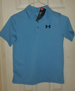 NWT UNDER ARMOUR Boys GOLF shirt SIZE YLG YOUTH LARGE BLUE YELLOW STRIPES