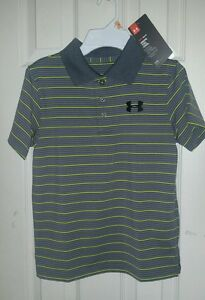 NWT UNDER ARMOUR Boys GOLF shirt SIZE YMD YOUTH MEDIUM GRAY YELLOW STRIPES