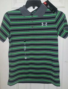 NWT UNDER ARMOUR Boys GOLF shirt SIZE YMD YOUTH MEDIUM GRAY BLACK GREEN STRIPES