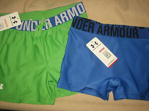 Under Armour Womens L Large Shorts compression & loose 2 pair NEW Blue Green+*