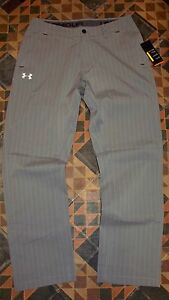 AWESOME! Men's Grey Pinstripe Golf Pants UNDER ARMOUR 3432 wStretch $150 NWT!