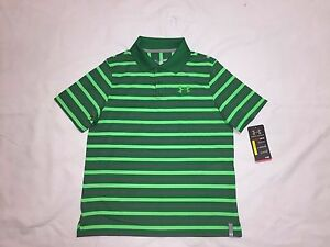 NEW UNDER ARMOUR YOUTH BOY'S HEAT GEAR GOLF LOOSE FIT POLO SHIRTS-GREENGRAY