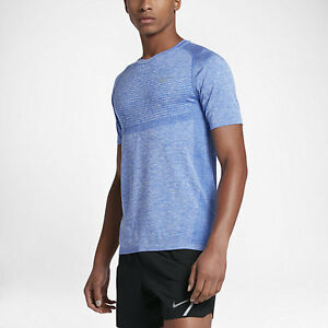 Men's Nike Dry Fit Knit Running Shirt Light Blue Lrage 717758 480 NWT