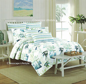 3-pc ☆ TROPICAL FISH ☆ Full/Queen Quilt NICOLE MILLER Coastal Beach House angled