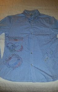VINTAGE OLD SCHOOL Nike LIMITED EDITION Blue Check Embroidered Sports Shirt-LM