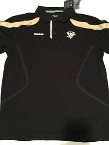 REEBOK Pittsburgh Penguins Staff Player DryFit Polo Black Shirt NEW Size Small