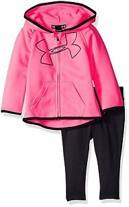 Under Armour Baby' Big Logo Hoodie and Pant Set Pink Punk 3-6 Months