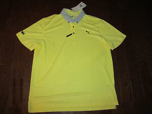 NEW $85 LUX MODEL YELLOW TAILORED FIT CELL DRY RICKIE FOWLER GOLF POLO SHIRT-XL