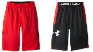 NWT Under Armour from downtown LIGHTWEIGHT mesh BLACKred shorts YOUTH boys L YL