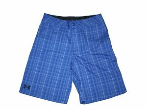 Youth Boy Under Armour Blue Plaid Golf Bermuda Loose Fit Shorts Size YLG 1416