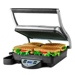 Ovente Electric Panini Press Grill 4 Slices Silver Non Stick Plates GP1000BR