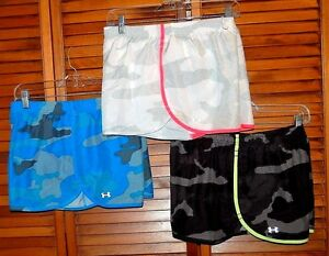 Lot of 3 UNDER ARMOUR Running Shorts SIZE LARGE WOMENS Camo Fitted Heatgear NICE