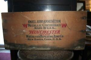 Vintage WINCHESTER wood crate box 9mm LUGER shot shell ammo ammunition