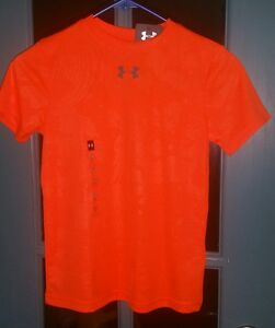 NWT UNDER ARMOUR Boys shirt SIZE SMALL  YOUTH NEON ORANGE DRY FIT
