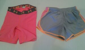 LOT Girls Youth Nike Tempo Running Shorts & UA Softball Strike Zone Slider Large