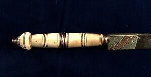 ANTIQUE BRAZILIAN DAGGER POINT KNIFE - GOLD DECORATED - 1920's