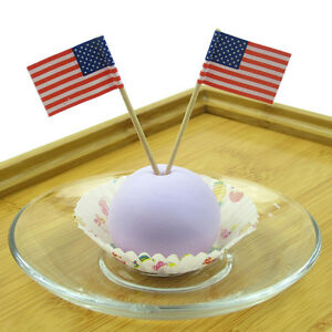 100X American USA Flag Picks Paper Toothpick Food Cupcake Cocktail Party Decor