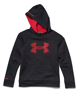 Under Armour 2349 Boys' Storm Armour Red Logo Black Hoodie Size Lg