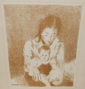 RAPHAEL SOYER quot;MOTHER AND CHILDquot; ORIGINAL STONE LITHOGRAPH SIGNED IN THE PLATE $399.99