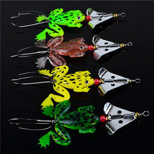 Best Fishing Lures Set 4 Pcs Rubber Soft Frog Bass SpinnerBait Tackle US