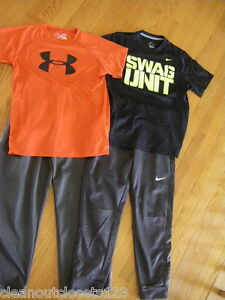 Boys NIKE Swag Unit Therma-Fit athletic pants Duo Dry Under Armour shirt Large 4