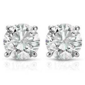 1 2Ct Round Genuine Diamond Studs Earrings in 14K White Or Yellow Gold