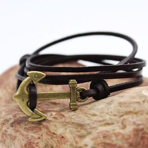 Genuine Leather Anchor Multilayer Wrap Rope Mens Womens Bracelet Wristband #B310
