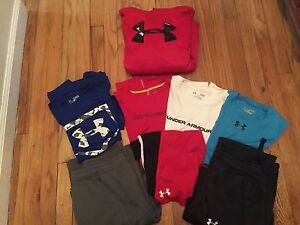Huge Lot of 8 Boys size L &XL UNDER ARMOUR tops & Bottoms