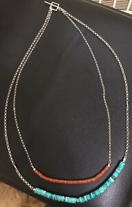 Handcrafted Turquoise Carnelian and Silver Necklace Bracelet and Earring Set