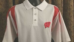 Wisconsin Badgers Polo Shirt XL Red White Dry Fit Embroidered SS NCAA