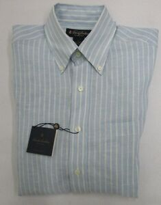 Brooks Brothers 100% Irish Linen Blue Button Down Sport Shirt Size S NWT $79.50