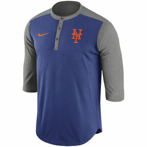 Nike MLB Authentic Collection New York Mets Dri-FIT 34 Sleeve Henley T-Shirt