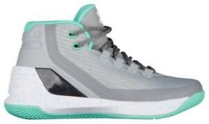 Under Armour Curry 3 Girls' Grade School GreyMeteor GreenWhite 4061-064