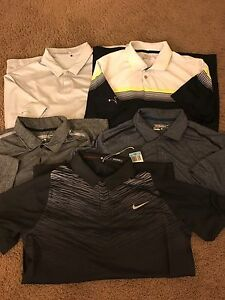 NIKE GOLF Men's Polo Dry Fit Polo Lot of 5 Shirts Sz M TW Tiger Woods Collection