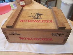 Winchester Shotgun Shell 250 Round Dovetail Joint Wood Ammo Box Case