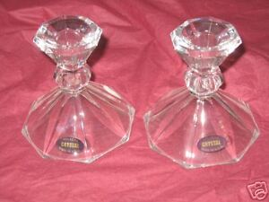 2 Candlestick Holders 24% Lead Crystal