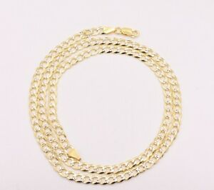 5mm Solid Long Curb Cuban Link Chain Necklace 14K Yellow Gold Clad Silver 925