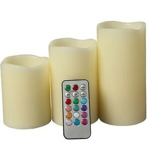 Set of 3 LED Color Changing Flameless Ivory Candles With Remote Control 4quot; 5quot; 6quot;