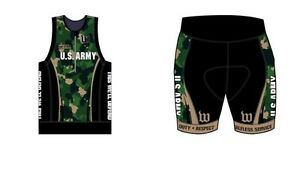 Wattie Ink US Army Triathlon Kit Mens Large Cycling Running Tri Shorts Jersey
