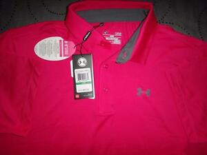 UNDER ARMOUR POWER IN PINK BREAST CANCER GOLF POLO SHIRT NWT $64.99