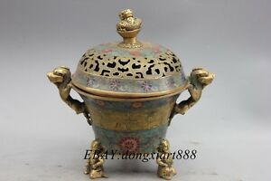10 China bronze Cloisonne Enamel Dragon beast Lohan buddha incense burner Cense
