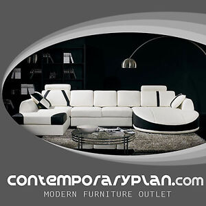 Ultra Contemporary Top Grain WhiteBlack Leather Sectional Sofa w Curved Chaise
